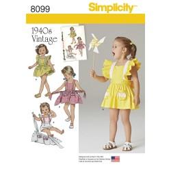 Vintage pigetøj Rompers og forklædekjole snitmønster