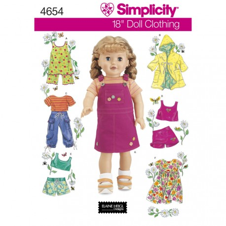 Dukketøj til 45,5cm dukke simplicity snitmønster 4654