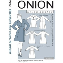 Skjortekjole m/revers strikstof Onion snitmønster plusmode