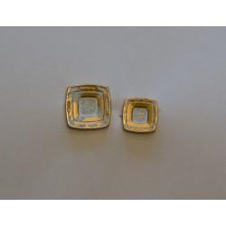 Metal knap m/øje Guld/hvid firkantet