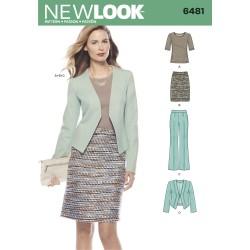 Jakke, bluse, nederdel og bukser snitmønster New look 6481