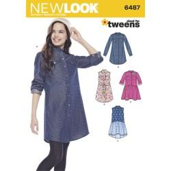 Stor skjorte og kjole tweens snitmønster New look 6487