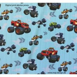 Blaze Monster truck Digital print Børne stof