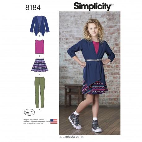 Pigetøj leggings, nederdel og top også pige+ snitmønster 8184
