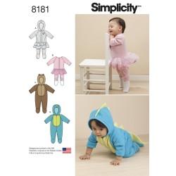 Babytøj heldragt m/fødder og hætte snitmønster