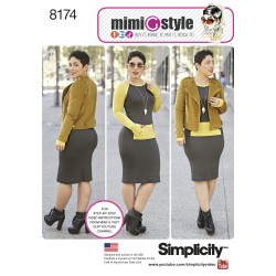 Kjole og jakke MiniGstyle også plusmode Simplicity snitmønster 8174
