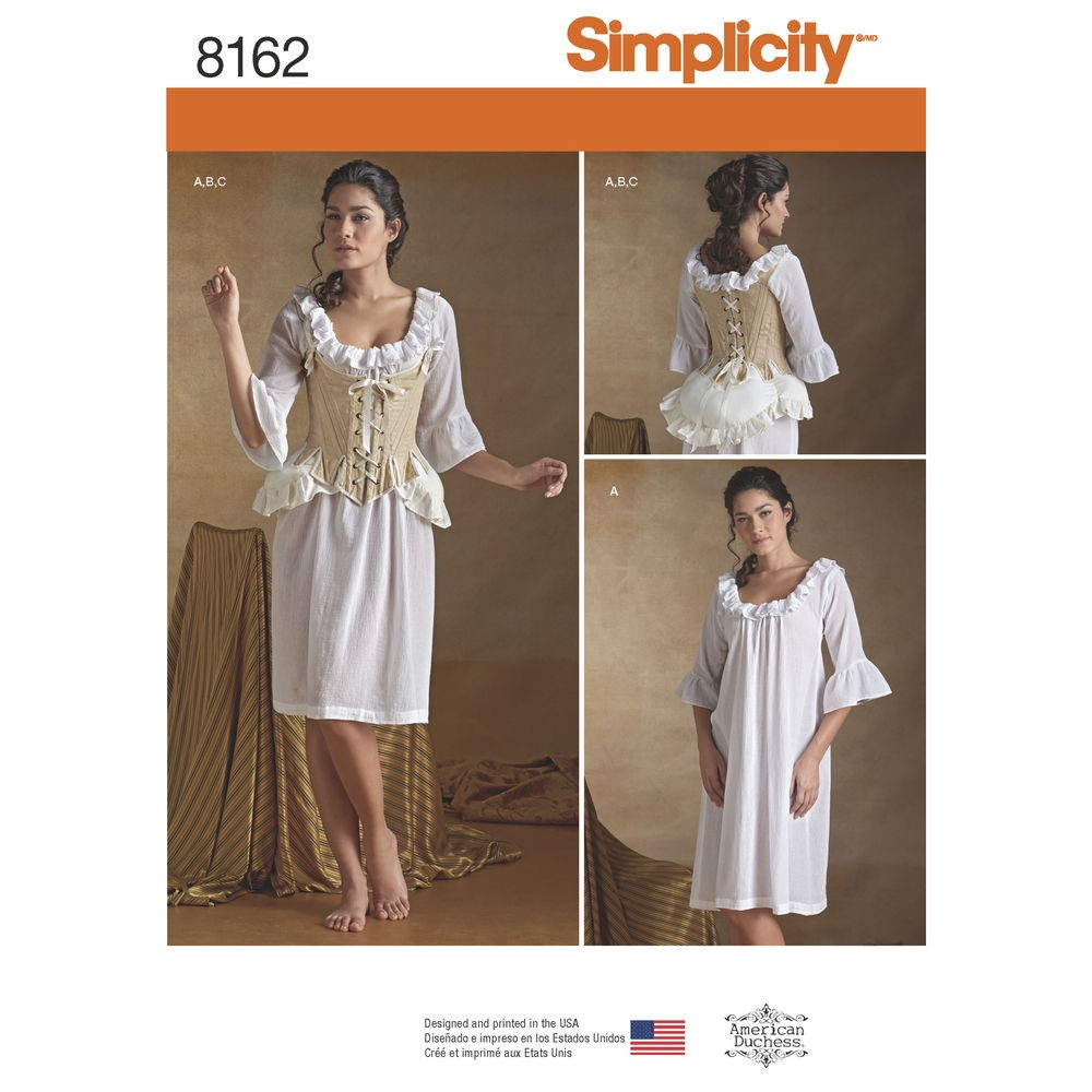 e56fc8f78420 1800´tals undertøj kostume voksen Simplicity snitmønster 8162