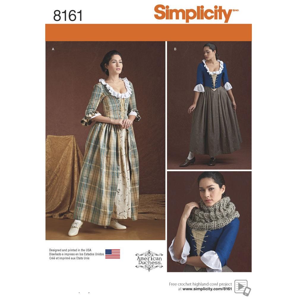 38e6e579943b 1800´tals kjole kostume voksen Simplicity snitmønster 8161