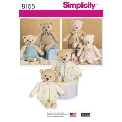Teddybjørn og tøj Simplicity snitmønster 8155