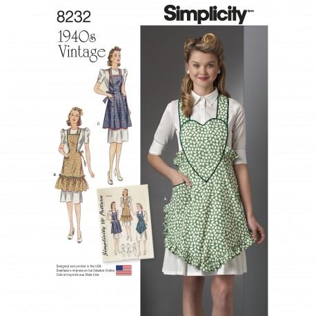 Vintage 1940érne Forklæde m/hjerte smæk Simplicity snitmønster 8232
