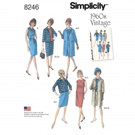 Vintage 1960érne Kjole og frakke Simplicity snitmønster 8246