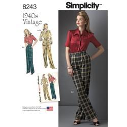 Vintage 1940érne Vest, bukser og bluse også plusmode snitmønster