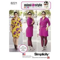 Kjole m/bælte MimiGstyle også plusmode Simplicity snitmønster 8221