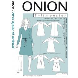 70èr kjole til strikstof retro kjole Onion snitmønster