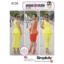 Peplum top, tørklæde og bukser MimiGstyle snitmønster 8136