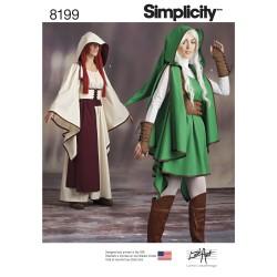 Kjortel, livstykke og kappe m/hætte voksen kostume snitmønster