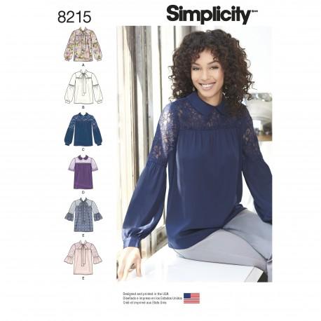 Skjorte bluse Simplicity snitmønster 8215