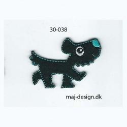 Hund sort/turkis 5x3,5 cm strygemærke