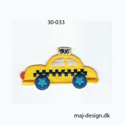 Gul taxi 5,5x3 cm strygemærke