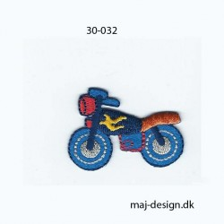 Blå motorcykel 4,5x3 cm strygemærke