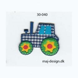 Traktor ternet blå/hvid 5x4 cm strygemærke