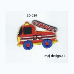 Brandbil rød/blå 5x3,5 cm strygemærke