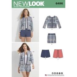 Jakke, shorts og nederdel snitmønster New look 6496