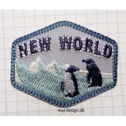 Broderet strygemærke Pingviner 5x4 cm