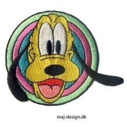 Broderet strygemærke Pluto Ø 6 cm