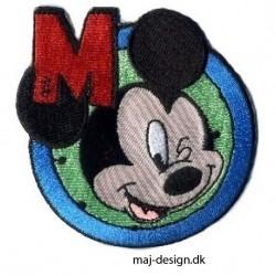 Broderet strygemærke Micket Mouse Ø 7,5 cm