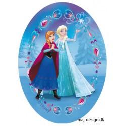 Anna & Elsa Printet strygelap oval 11x8 cm