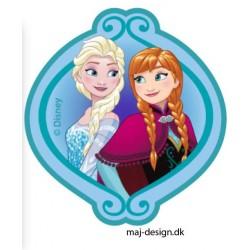 Anna & Elsa Printet strygemærke 7x6,5 cm