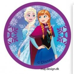 Anna & Elsa Printet strygemærke Ø 6,5 cm