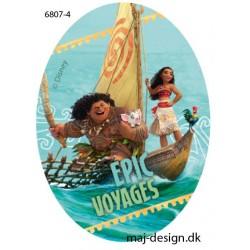 Vaiana & Maui printet strygelap oval 11x8 cm