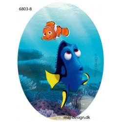 Dory & Nemo Printet strygelap oval 11x8 cm