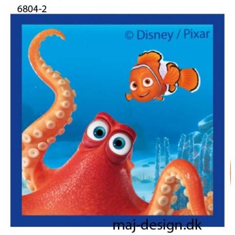 Hank & Nemo Printet strygemærke 6x6 cm