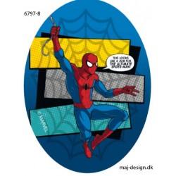 Spider-man printet strygelap oval 11x8 cm