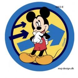 Mickey Mous m/pile printet strygemærke Ø 7,5 cm