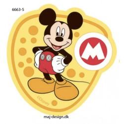 Mickey Mouse m/bogstav printet strygemærke 7x7,5 cm
