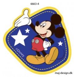 Mickey Mouse m/stjerner printet strygemærke 7x6 cm