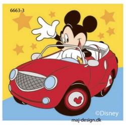 Mickey Mouse i bil printet strygemærke 7x7 cm
