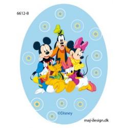 Mickey Mouse & Co printet strygelap oval 11x8 cm