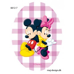 Mickey & Minnie printet strygelap oval 11x8 cm
