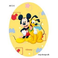 Mickey og Pluto printet strygelap oval 11x8 cm