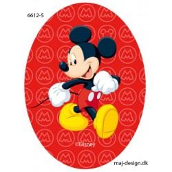 Mickey Mouse printet strygelap oval Disney mærke 11x8 cm