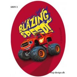 Blaze Monster Machines printet strygelap oval 11x8 cm