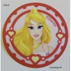 Tornerose Disney prinsesse printet strygemærke Ø 6,5 cm