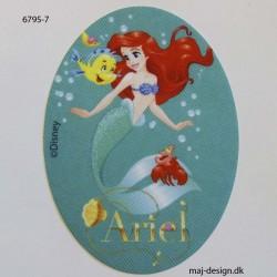 Ariel Disney prinsesse Printet strygemærke oval 11x8 cm