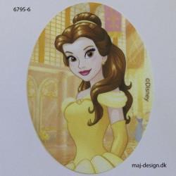 Belle Disney prinsesse Printet strygelap oval 11x8 cm