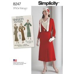 1930´Vintage Kjole og jakke simplicity snitmønster 8247